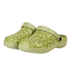 AA ESSCHERT DESIGN Pantofle zahradní potisk květy, zelená